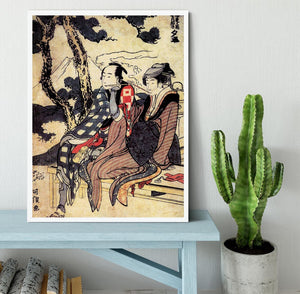 Traveling couple by Hokusai Framed Print - Canvas Art Rocks -6