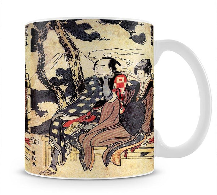 Traveling couple by Hokusai Mug