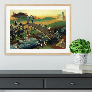 Travellers on the bridge near the waterfall of Ono by Hokusai Framed Print - Canvas Art Rocks - 3