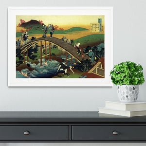 Travellers on the bridge near the waterfall of Ono by Hokusai Framed Print - Canvas Art Rocks - 5