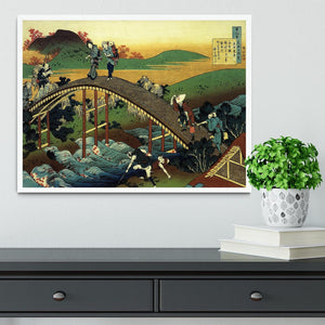 Travellers on the bridge near the waterfall of Ono by Hokusai Framed Print - Canvas Art Rocks -6