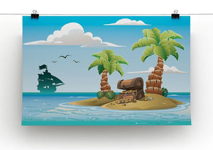 Treasure chest on the unhabited tropical island Canvas Print or Poster - Canvas Art Rocks - 2