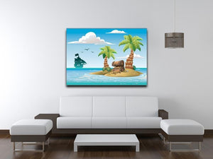 Treasure chest on the unhabited tropical island Canvas Print or Poster - Canvas Art Rocks - 4