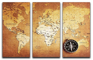 Treasure map background 3 Split Panel Canvas Print - Canvas Art Rocks - 1
