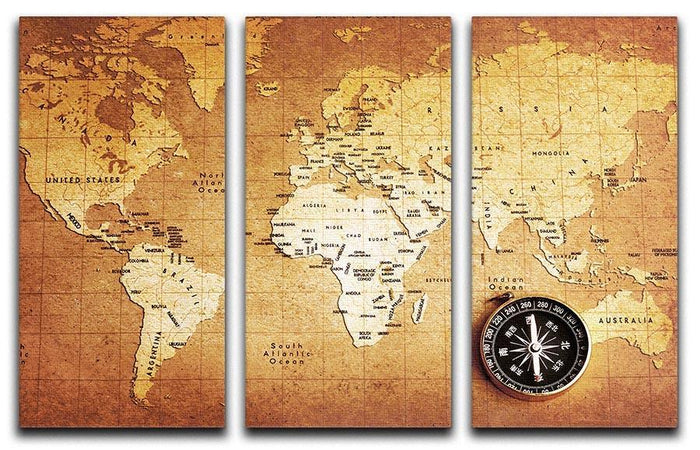 Treasure map background 3 Split Panel Canvas Print