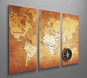 Treasure map background 3 Split Panel Canvas Print - Canvas Art Rocks - 2