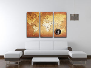 Treasure map background 3 Split Panel Canvas Print - Canvas Art Rocks - 3