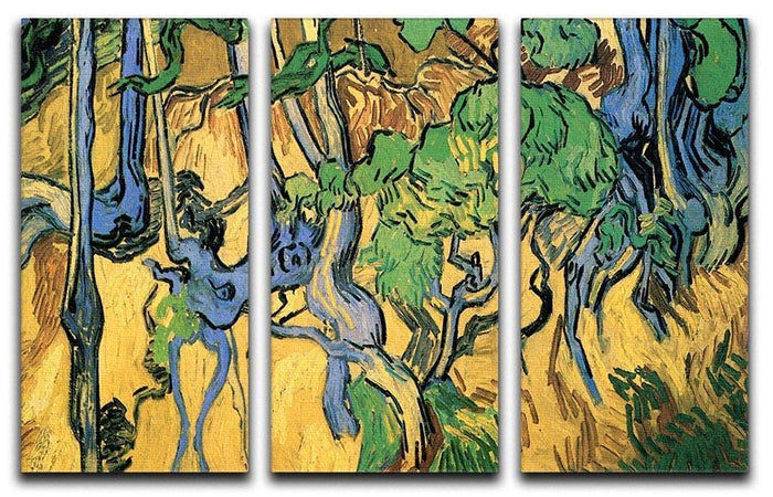 Tree Roots and Trunks by Van Gogh 3 Split Panel Canvas Print