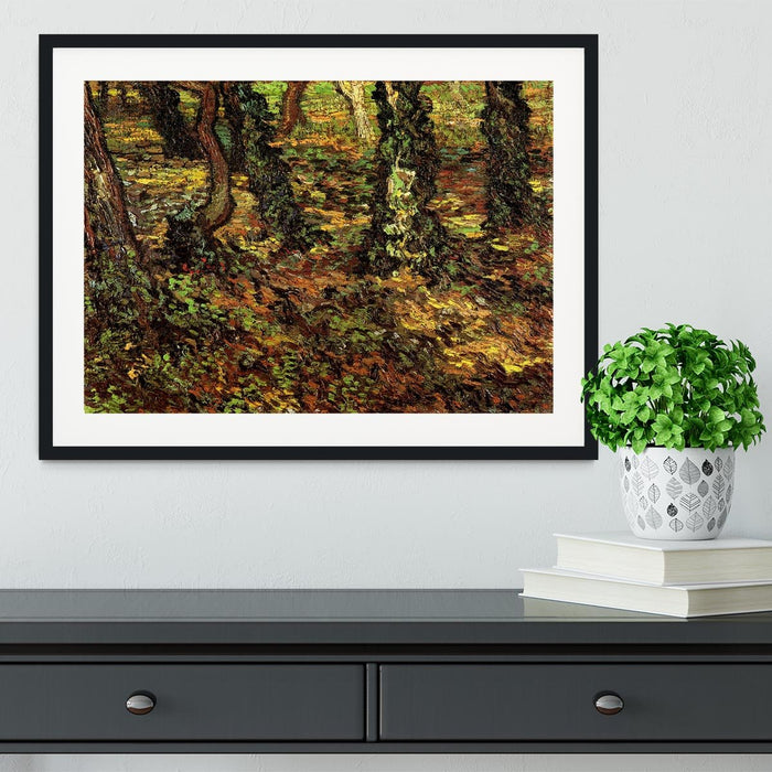 Tree Trunks with Ivy by Van Gogh Framed Print