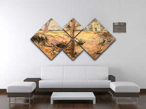 Trees in a Field on a Sunny Day by Van Gogh 4 Square Multi Panel Canvas - Canvas Art Rocks - 3