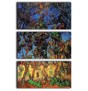 Trees in the Garden of Saint-Paul Hospital by Van Gogh 3 Split Panel Canvas Print - Canvas Art Rocks - 1