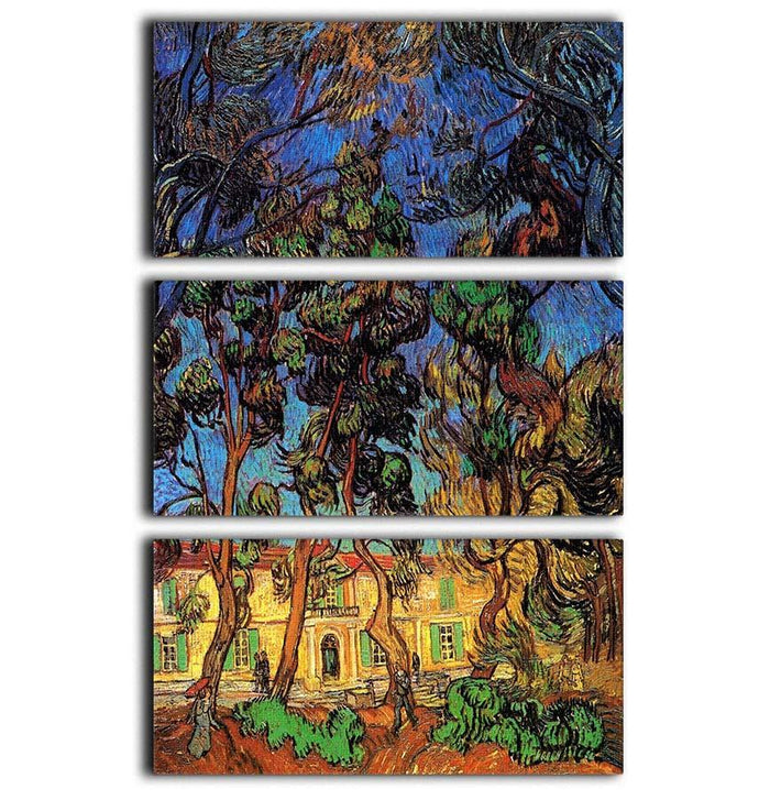 Trees in the Garden of Saint-Paul Hospital by Van Gogh 3 Split Panel Canvas Print