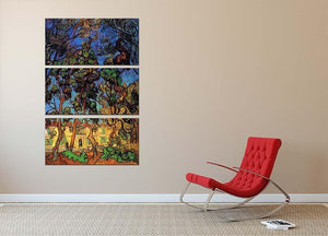 Trees in the Garden of Saint-Paul Hospital by Van Gogh 3 Split Panel Canvas Print - Canvas Art Rocks - 2