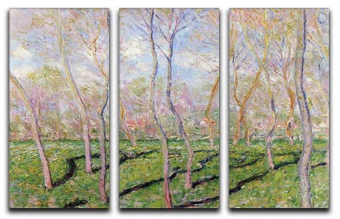 Trees in winter look at Bennecourt by Monet Split Panel Canvas Print