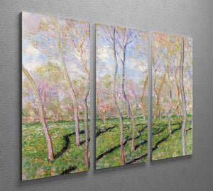 Trees in winter look at Bennecourt by Monet Split Panel Canvas Print - Canvas Art Rocks - 4
