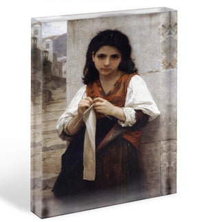 Tricoteuse By Bouguereau Acrylic Block - Canvas Art Rocks - 1
