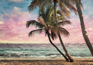 Tropical Beach At Sunset Wall Mural Wallpaper - Canvas Art Rocks - 1