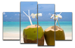 Tropical Coconut Cocktail 4 Split Panel Canvas - Canvas Art Rocks - 1