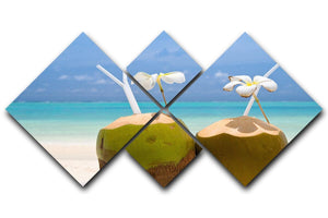 Tropical Coconut Cocktail 4 Square Multi Panel Canvas - Canvas Art Rocks - 1