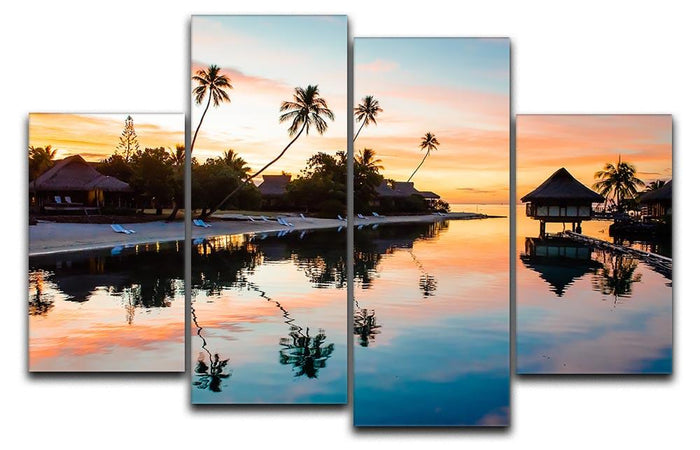 Tropical Sunset at Moorea 4 Split Panel Canvas