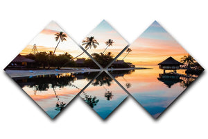Tropical Sunset at Moorea 4 Square Multi Panel Canvas - Canvas Art Rocks - 1