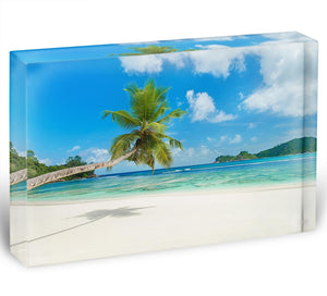 Tropical beach Baie Lazare Acrylic Block - Canvas Art Rocks - 1