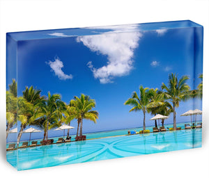 Tropical beach resort with lounge chairs Acrylic Block - Canvas Art Rocks - 1