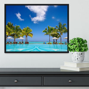 Tropical beach resort with lounge chairs Framed Print - Canvas Art Rocks - 2