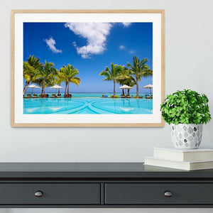 Tropical beach resort with lounge chairs Framed Print - Canvas Art Rocks - 3