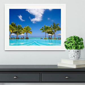 Tropical beach resort with lounge chairs Framed Print - Canvas Art Rocks - 5