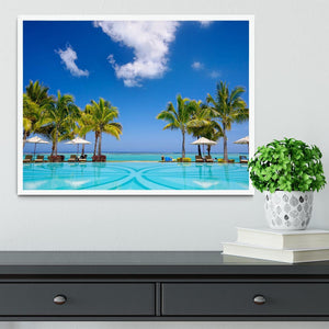 Tropical beach resort with lounge chairs Framed Print - Canvas Art Rocks -6
