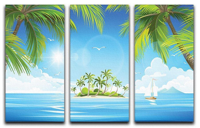 Tropical island with palm trees 3 Split Panel Canvas Print