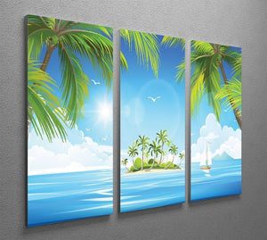 Tropical island with palm trees 3 Split Panel Canvas Print - Canvas Art Rocks - 2