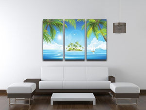 Tropical island with palm trees 3 Split Panel Canvas Print - Canvas Art Rocks - 3