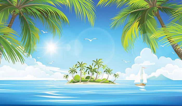 Tropical island with palm trees Wall Mural Wallpaper