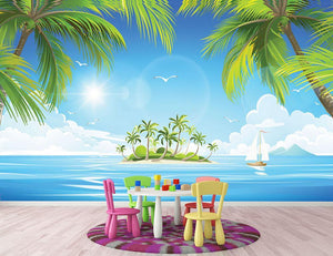 Tropical island with palm trees Wall Mural Wallpaper - Canvas Art Rocks - 2