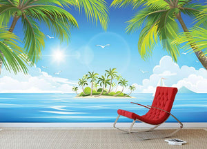 Tropical island with palm trees Wall Mural Wallpaper - Canvas Art Rocks - 3
