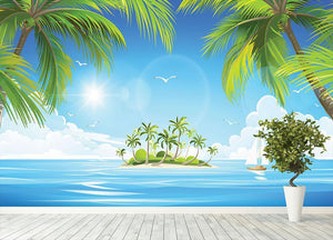 Tropical island with palm trees Wall Mural Wallpaper - Canvas Art Rocks - 4