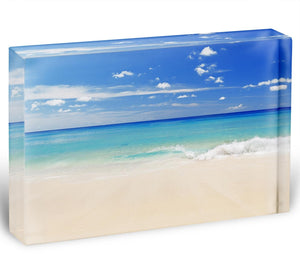 Tropical white sand beach and blue sky Acrylic Block - Canvas Art Rocks - 1
