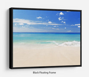 Tropical white sand beach and blue sky Floating Frame Canvas - Canvas Art Rocks - 1