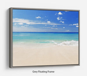 Tropical white sand beach and blue sky Floating Frame Canvas - Canvas Art Rocks - 3