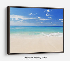 Tropical white sand beach and blue sky Floating Frame Canvas - Canvas Art Rocks - 5