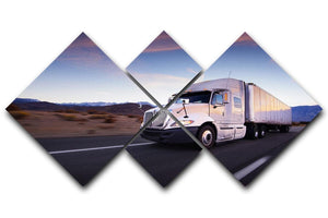 Truck and highway at sunset 4 Square Multi Panel Canvas  - Canvas Art Rocks - 1