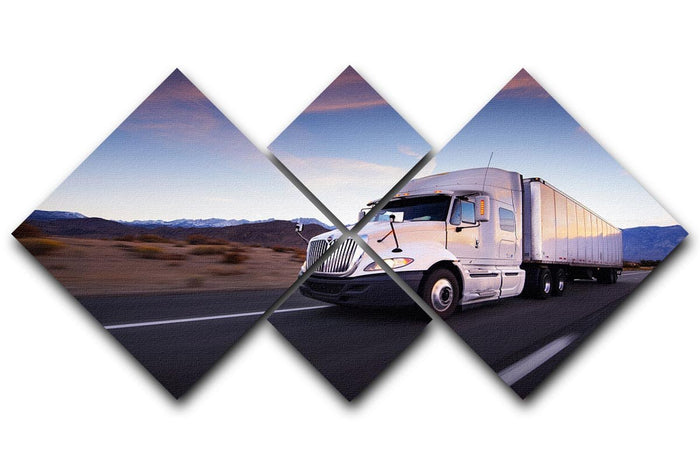 Truck and highway at sunset 4 Square Multi Panel Canvas