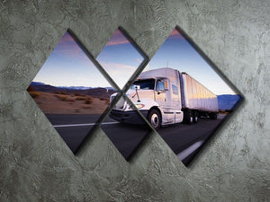 Truck and highway at sunset 4 Square Multi Panel Canvas  - Canvas Art Rocks - 2