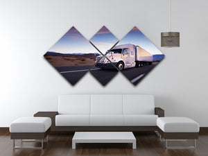 Truck and highway at sunset 4 Square Multi Panel Canvas  - Canvas Art Rocks - 3