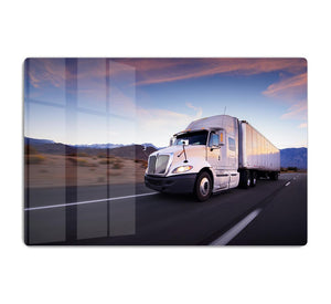 Truck and highway at sunset HD Metal Print