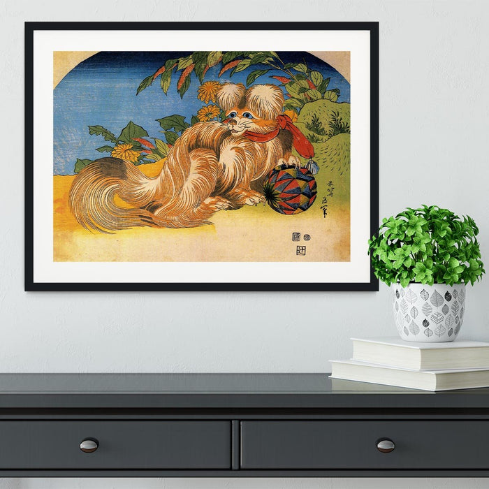 Tschin - the pet dog by Hokusai Framed Print