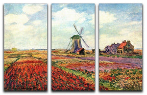 Tulips of Holland by Monet Split Panel Canvas Print - Canvas Art Rocks - 4