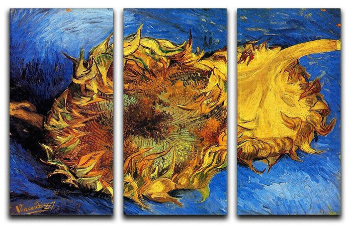 Two Cut Sunflowers 3 by Van Gogh 3 Split Panel Canvas Print